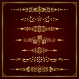 Luxury ornamental page dividers in gold - vector set. Lots of useful golden calligraphic elements to embellish your layout vector illustration