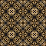 Luxury ornate abstract background in colors of gold and black. Ethnic vector seamless pattern in aztec style. Abstract background in colors of gold and black stock illustration
