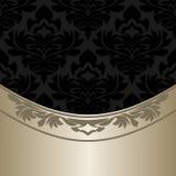 Luxury ornate black Background with elegant silver Border Stock Photography