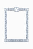 Luxury, ornate, vintage frame with crown in blue gamma. Vector i Stock Images