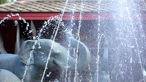 Luxury Outdoor Fountain with sculptures of. Elephants at a Thai Spa Resort. Video shift motion 1920*1080 stock footage