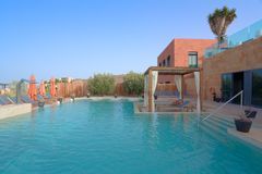 Luxury Outdoor Pool Spa. Outdoor Pool Spa with Pergolas in a Luxury hotel Stock Photos