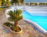 Luxury outdoor Pool,Travel, Vacation, Relaxation, Background. Luxury outdoor swimming pool. Travel, summer vacation or relaxation background. Turquoise, aqua Royalty Free Stock Photo