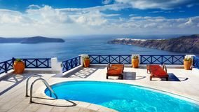 Luxury outdoor Pool,Travel, Vacation, Relaxation, Background Royalty Free Stock Photos