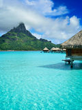 Luxury overwater vacation resort on Bora Bora Stock Photo
