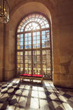 Luxury palace glass windows in Versailles palace, France. Luxury palace glass windows and old style bench in Versailles palace, France stock photography