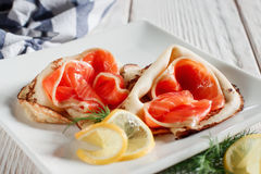 Luxury pancakes with red fish Stock Photo