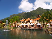 Luxury paradise by the lake. A luxury chalet resort by the lake Stock Photos