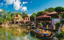Luxury Paradise by the lake of Oriental Village. Langkawi, Malaysia - February 16, 2016: Oriental Village gateway to ride a cable-car up Mat Cingcang mountain Stock Photos
