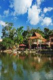 Luxury Paradise by the lake of Oriental Village. Langkawi, Malaysia - February 16, 2016: Luxury Paradise by the lake, spa home, hotels and shops for tourists at Stock Images