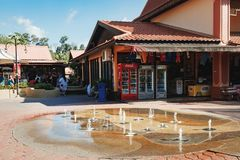 Luxury Paradise by the lake of Oriental Village. Langkawi, Malaysia - February 16, 2016: Street fountain near hotels and shops for tourists at Oriental Village Royalty Free Stock Image