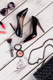 Luxury party essentials, top view. Stock Images