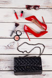 Luxury party essentials, top view. Royalty Free Stock Photo