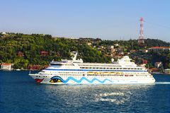 Luxury Passenger Ship. Passenger Ship AIDA Aura (IMO: 9221566, Italy) on July 5, 2012 in Istanbul. A 203 mt long, 28 mt width vessel, launched into the sea in Stock Photo