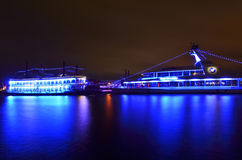 Luxury tourists boat on Elbe river by nigt Royalty Free Stock Image