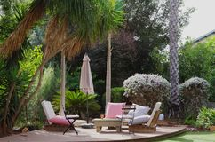 Luxury patio in suburban Israel Royalty Free Stock Photo