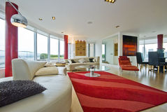 Luxury penthouse living room Stock Images