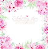 Luxury peonies and camellia vector frame Stock Photography