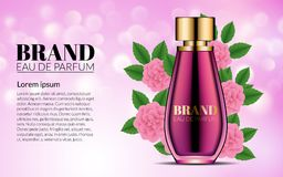 Luxury Perfume Glass Bottle Ads Template. Pink Flowers. Cosmetics Product Advertising Blur and Bokeh Background. Modern. Design Advertising for Sales. 3d Vector Royalty Free Stock Photo