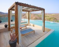 Luxury Pergola. Outdoor Pool Spa with Pergola in a Luxury hotel Stock Images