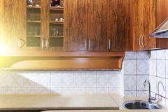 Luxury pine wood beautiful custom kitchen interior design with island and granite. Stock Photo