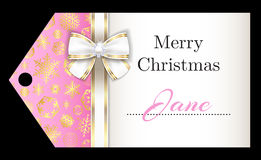Luxury pink Christmas name tag with golden snowfla vector illustration