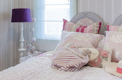 Luxury pink color scheme bedroom with lamp Royalty Free Stock Photo