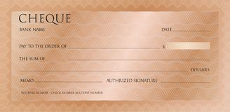 Luxury pink gold cheque template with vintage guilloche. Bronze Check, checkbook template pattern with watermark stock illustration