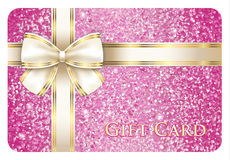 Luxury pink shiny gift card composed from glitters Royalty Free Stock Photography