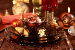 Luxury place setting for Christmas Stock Image