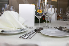 Luxury place setting with a menu card Royalty Free Stock Image