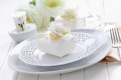 Luxury place setting in white Stock Images
