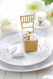Luxury place setting in white Stock Photo