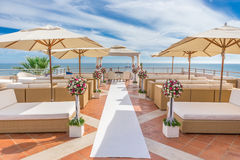 A luxury platform for wedding ceremony. On the coast Royalty Free Stock Photo