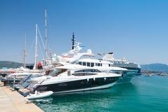 Luxury pleasure yachts moored in Ajaccio port Stock Images