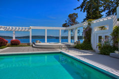 Luxury Pool. Over looking ocean stock photos