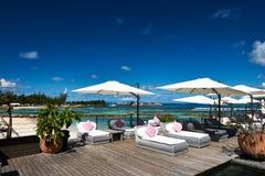 Luxury poolside jetty Royalty Free Stock Photos