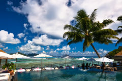 Luxury poolside jetty Royalty Free Stock Images