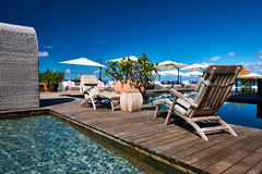 Luxury poolside jetty. At Seychelles Royalty Free Stock Photography