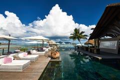 Luxury poolside jetty Stock Photo