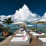 Luxury poolside jetty Stock Photos