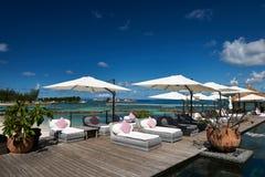 Luxury poolside jetty Stock Image