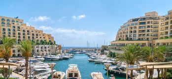 Luxury Portomaso Marina in St Julians, Malta. 15 July 2018 - St Julians, Malta. Elegant and picturesque Portomaso Marina, well planned modern luxury apartments Royalty Free Stock Photos