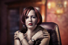 Luxury portrait of fashion woman Royalty Free Stock Images