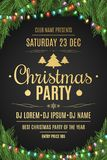 Luxury poster for a Christmas party. Christmas tree on a black background. Celebratory background. Gold text with description. Mul Stock Photo