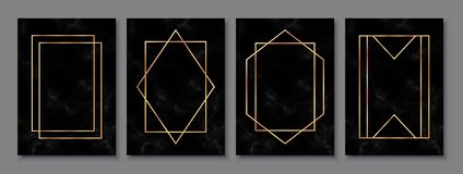 Luxury posters set with black marble texture and gold polygonal frames. Vintage templates in art deco style: cards, banners, brochures, flyers etc. Perfect for royalty free illustration