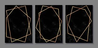 Luxury posters set with black marble texture and gold polygonal frames. Vintage templates in art deco style: cards, banners, brochures, flyers etc. Perfect for vector illustration