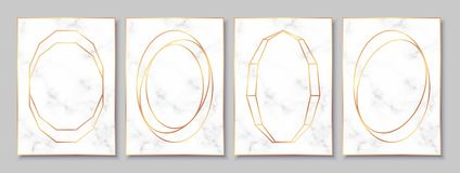 Luxury posters set with white marble texture and gold circular frames. Vintage templates in art deco style: cards, banners, brochures, flyers etc. Perfect for stock illustration
