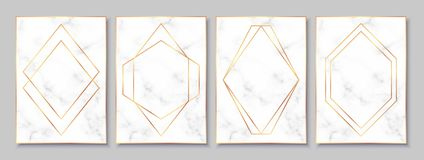 Luxury posters set with white marble texture and gold polygonal frames. Vintage templates in art deco style: cards, banners, brochures, flyers etc. Perfect for stock illustration