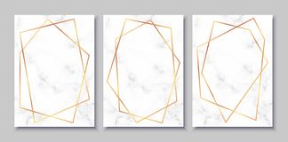 Luxury posters set with white marble texture and gold polygonal frames. Vintage templates in art deco style: cards, banners, brochures, flyers etc. Perfect for royalty free illustration